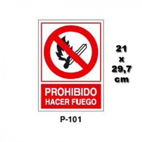 Señal Prohibido Hacer Fuego