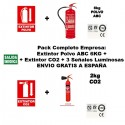 Pack Empresa: Extintor de Polvo ABC 6Kg + Extintor de CO2 2KG