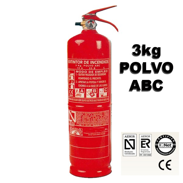 Extintor de Polvo ABC de 3 Kilos eficacia 13a 55b