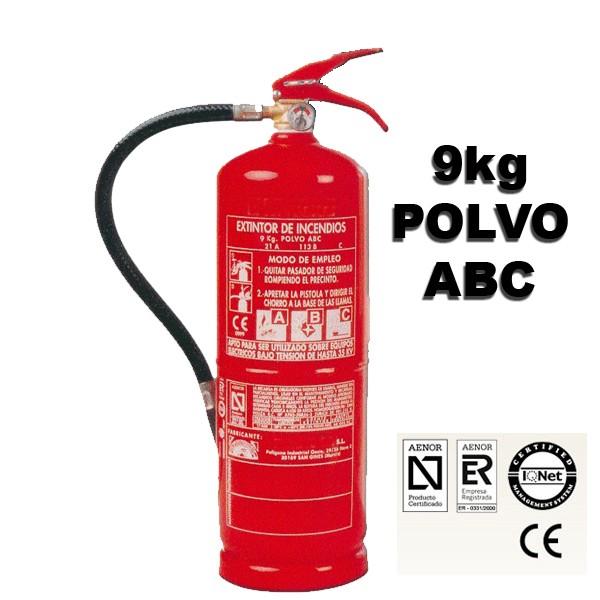 Extintor de Polvo ABC de 9 Kilos eficacia 34a 144b